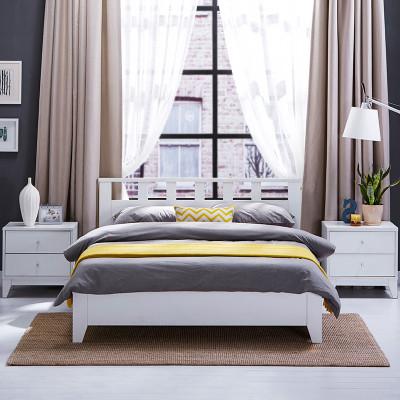 斯品家居 斯特里木床 简约宜家风 时尚白色 小清新 卧室双人床 1.
