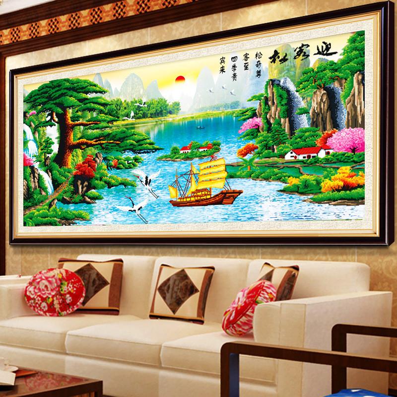 鉆石畫迎客松十字繡新款客廳風景山水畫鉆石繡滿鉆貼鉆磚石秀圖案大全