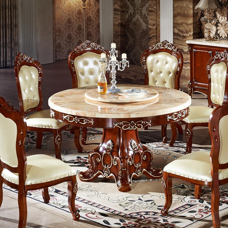 永旭家具 欧式天然大理石餐桌椅组合餐厅美式乡村实木圆桌子高清实拍