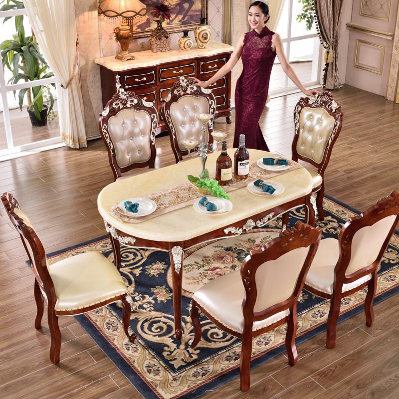 欧式餐桌天然大理石椭圆形