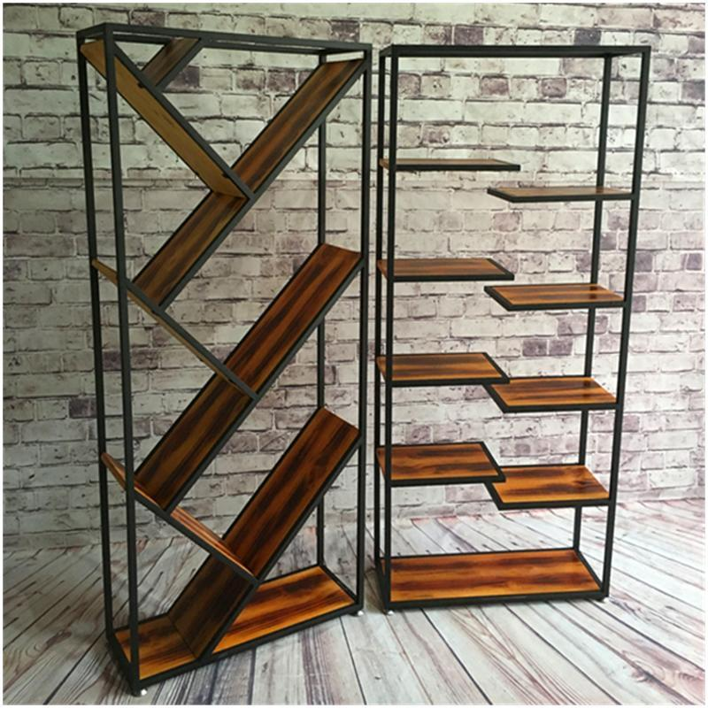 唐傲 复古铁艺书架办公陈列书柜实木隔板现代置物收纳架创意货架展示