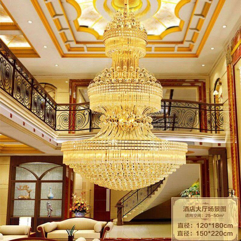 新奥泰佳复式楼大吊灯水晶吊灯s金客厅灯别墅大厅楼中楼工程灯 直径1.