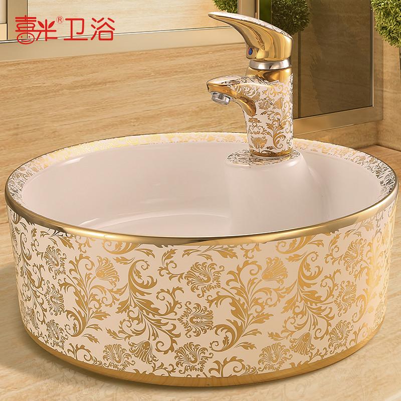 欧式洗手盆陶瓷台上盆椭圆形洗脸盆洗漱艺术盆台盆彩金洗面盆圆形方形