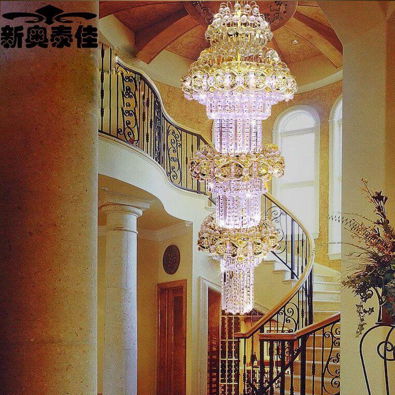 新奥泰佳新款复式楼楼梯灯旋转楼梯吊灯楼中楼中空长吊灯酒店别墅工程