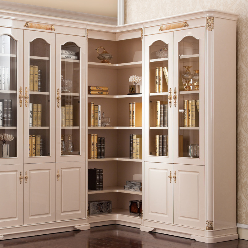 书柜组合转角玻璃门儿童书架橡木环保书橱精湛雕刻实木框架b1303书柜