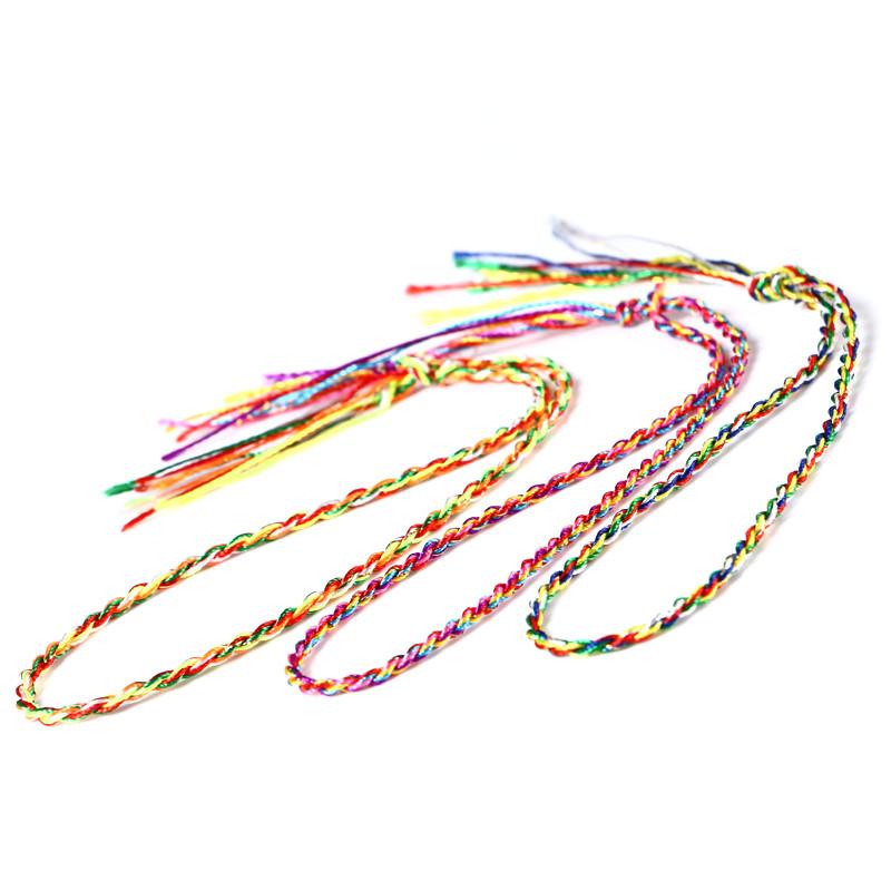 集祥阁 端午节手工编织五彩手链手绳五色线脚链金刚结手绳材料男女
