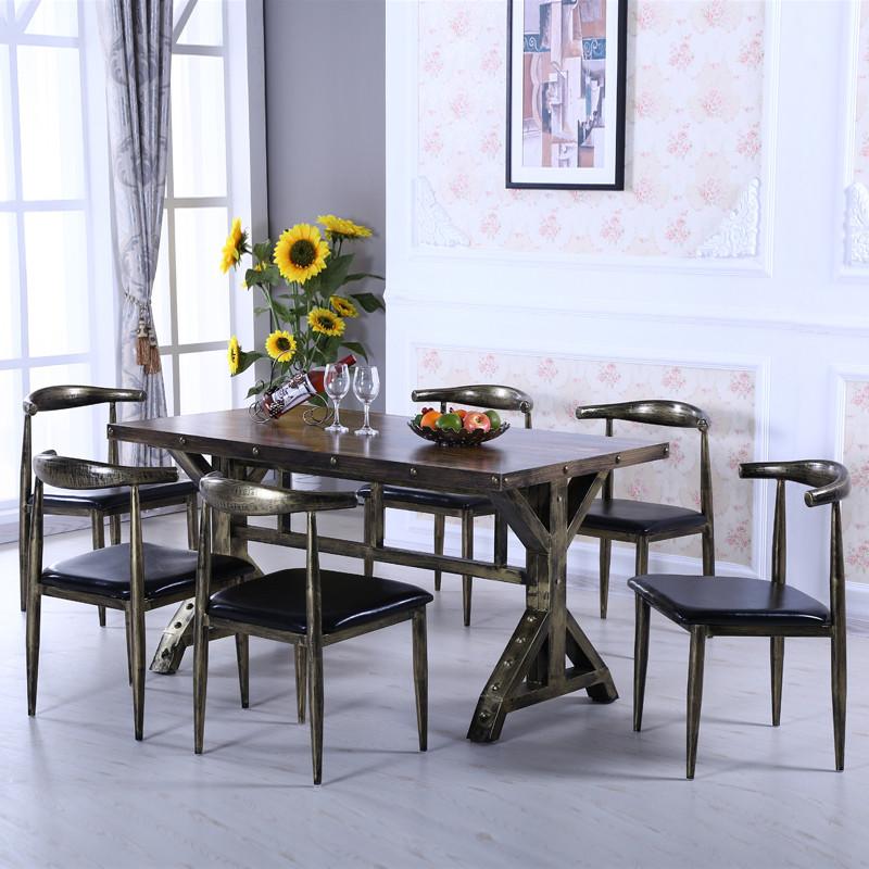 欧式复古铁艺做旧椅子美式酒店咖啡厅餐厅牛角椅电脑椅会议椅餐椅高清