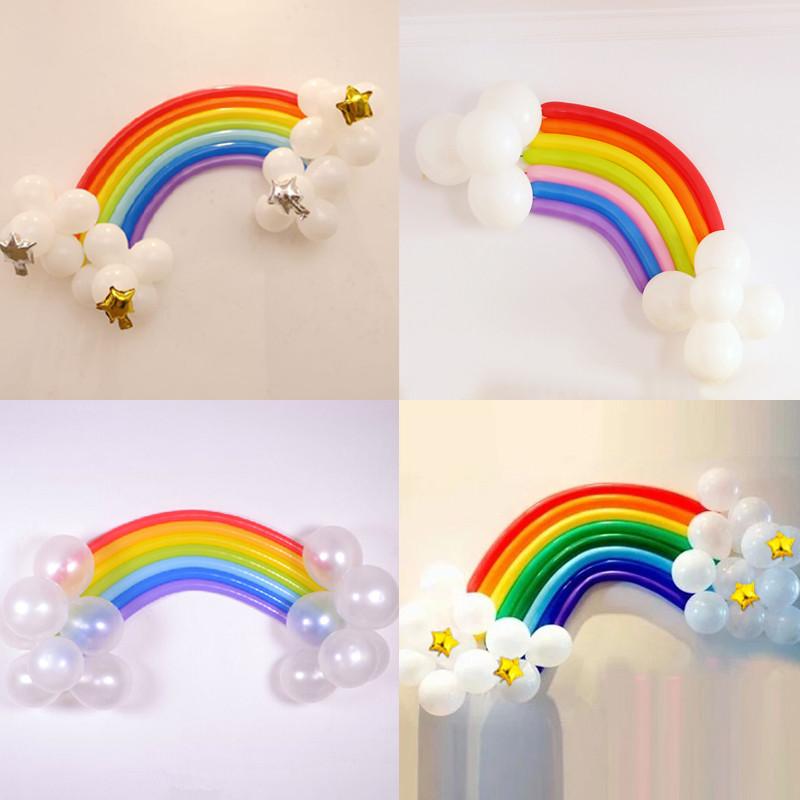 孩派生日派对装饰用品进口260长条魔术气球造型彩虹气球造型套餐 彩虹图片