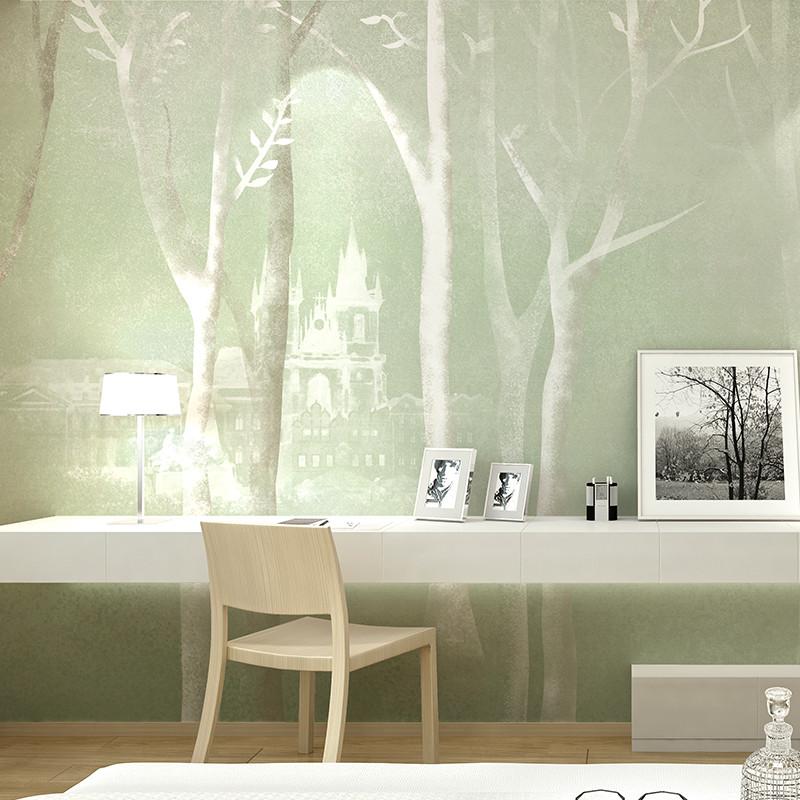 手绘现代简约北欧素雅背景墙装饰画 客厅电视墙壁画卧室墙布沙发墙