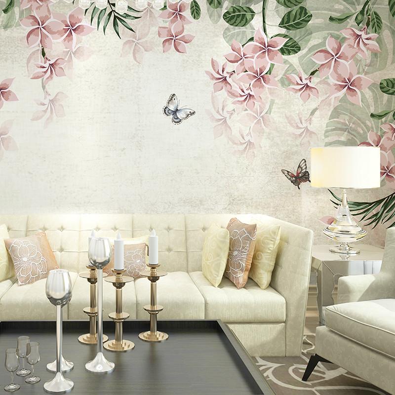 复古欧式手绘花卉背景墙壁画 定制个性创意客厅影视墙卧室沙发墙壁纸