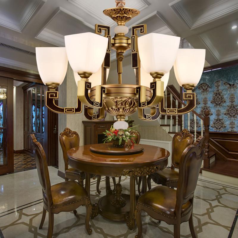 客厅 书房 卧室 餐厅 玄关玉云石吊灯 别墅复式楼欧式锌合金云石吊灯