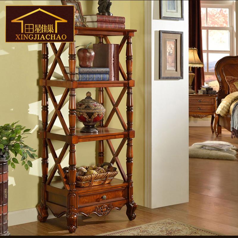 欧式墙面装饰品架 客厅实木花架花盆架落地 美式乡村置物架层架高清实