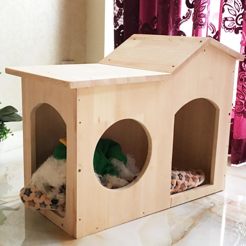 妞派特 实木可拆卸宠物狗房子别墅房子 狗窝宠物窝猫房子猫窝狗屋泰迪