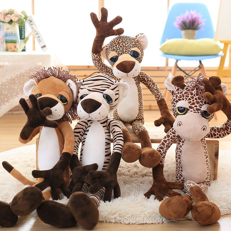 森林动物可爱大眼睛长颈鹿狮子毛绒玩具 老虎豹子布娃娃玩偶公仔 女生
