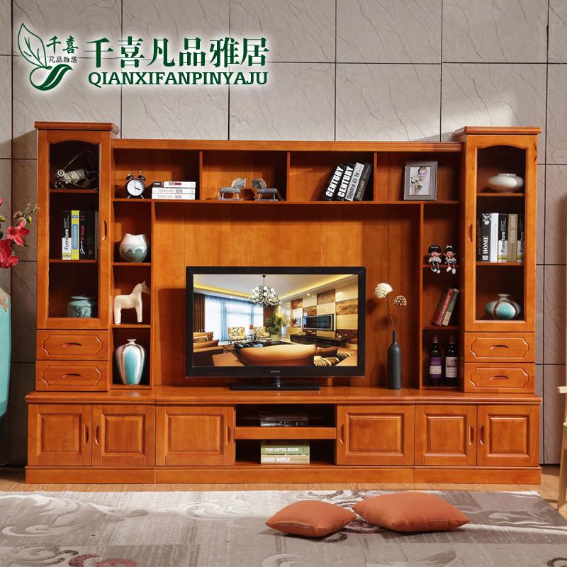 千喜凡品雅居 新中式实木电视柜组合客厅简约电视机柜htl_2801# 组合