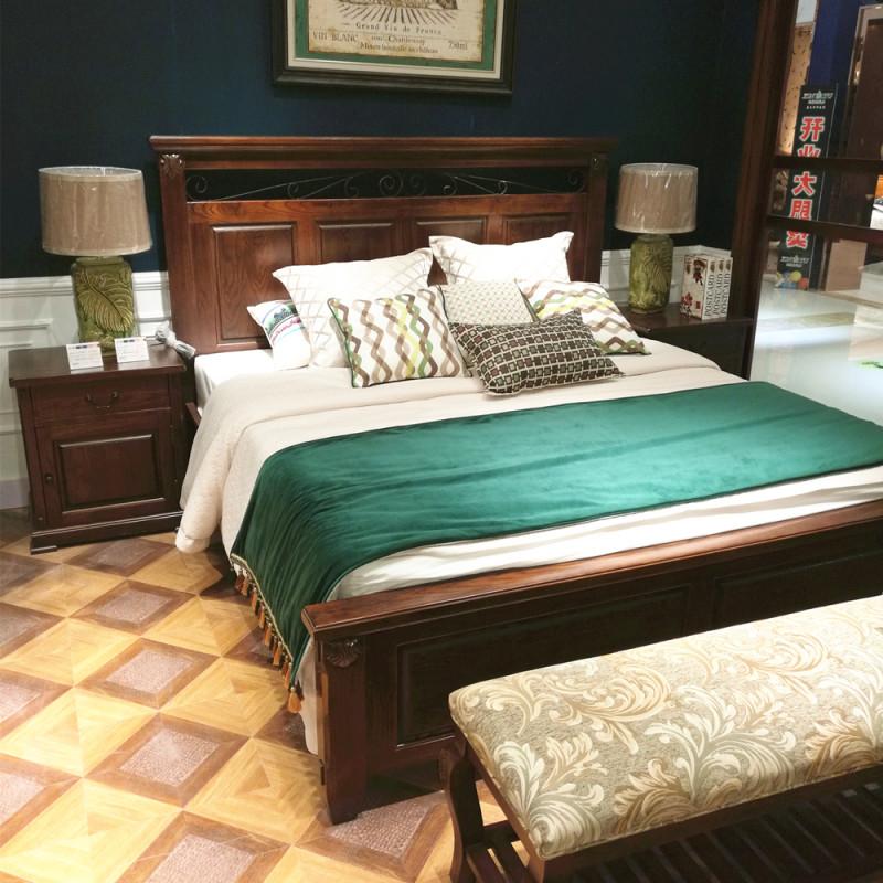 新美式家具全实木白蜡木床美式床乡村1.
