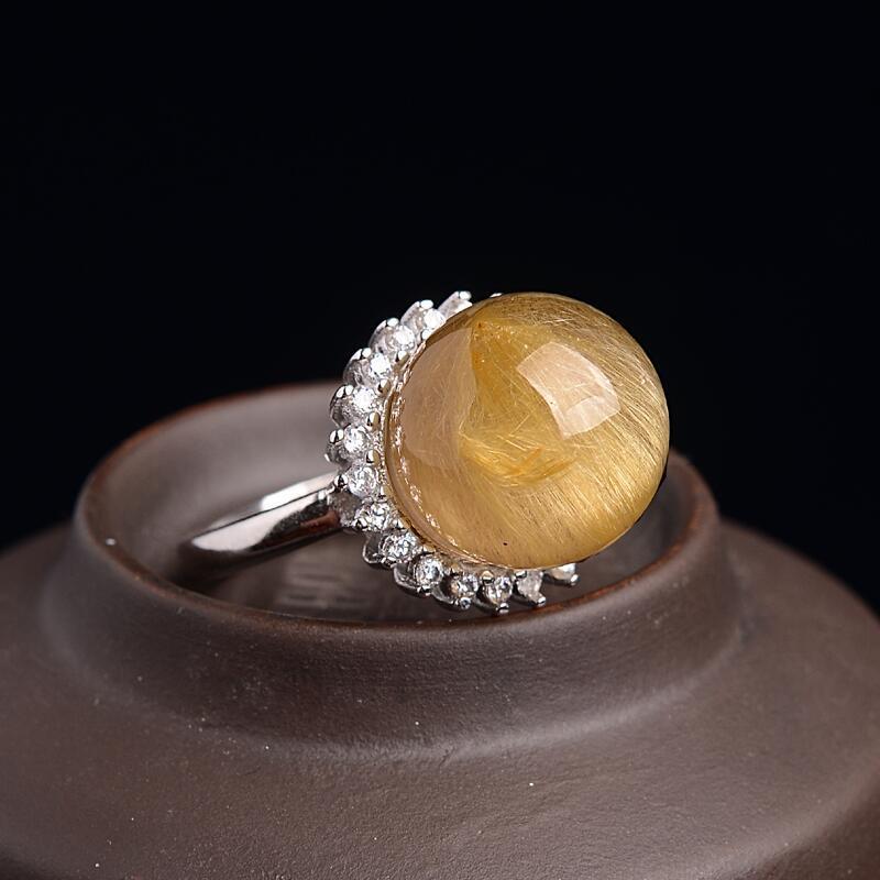 水晶玛瑙 戒指 晶妍珠宝 晶妍珠宝天然金发晶转运珠戒指男女款镶嵌