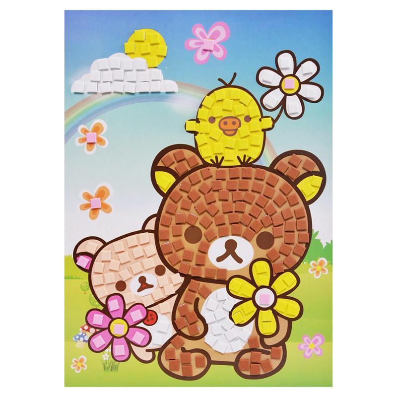 孩派eva立体粘贴画儿童手工diy手工制作亮片 方块马赛克贴画 图案随机