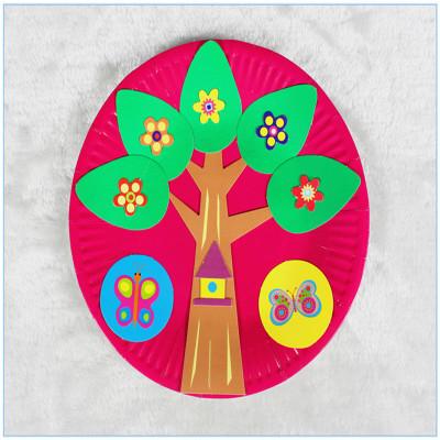 梦童工坊 儿童手工制作纸盘子画玩具 幼儿园宝宝创意粘贴美术材料包a