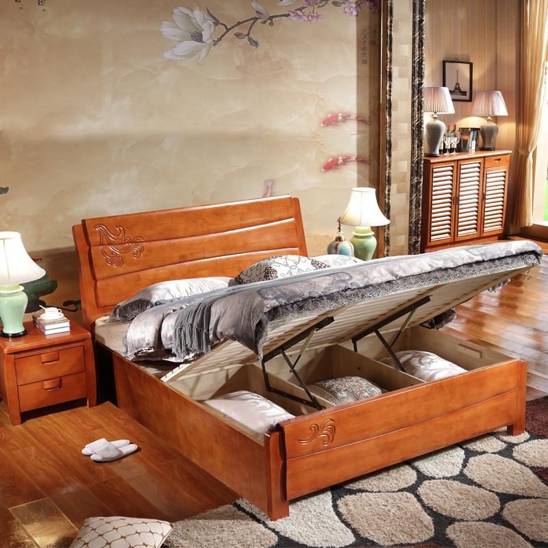 8米1.5米1.2m全实木大床双人婚床储物高箱床卧室家具纯木质床架603