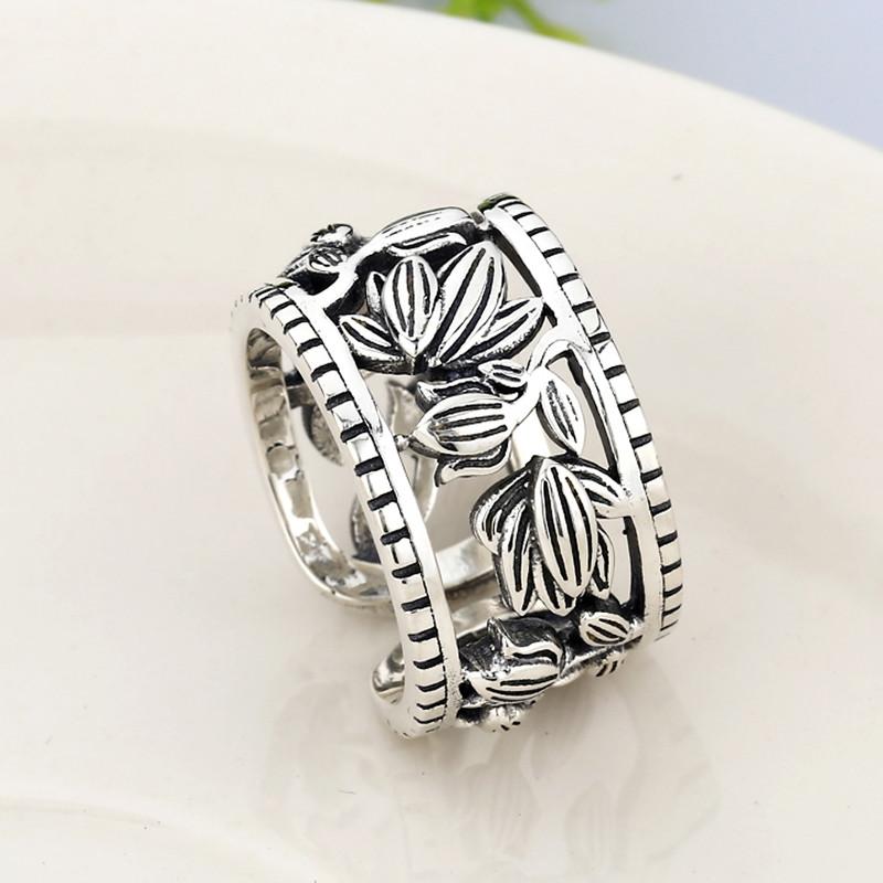 凤瑞麟 银戒指女复古泰银开口镂空雕花戒指女款玫瑰花指环s925银饰品