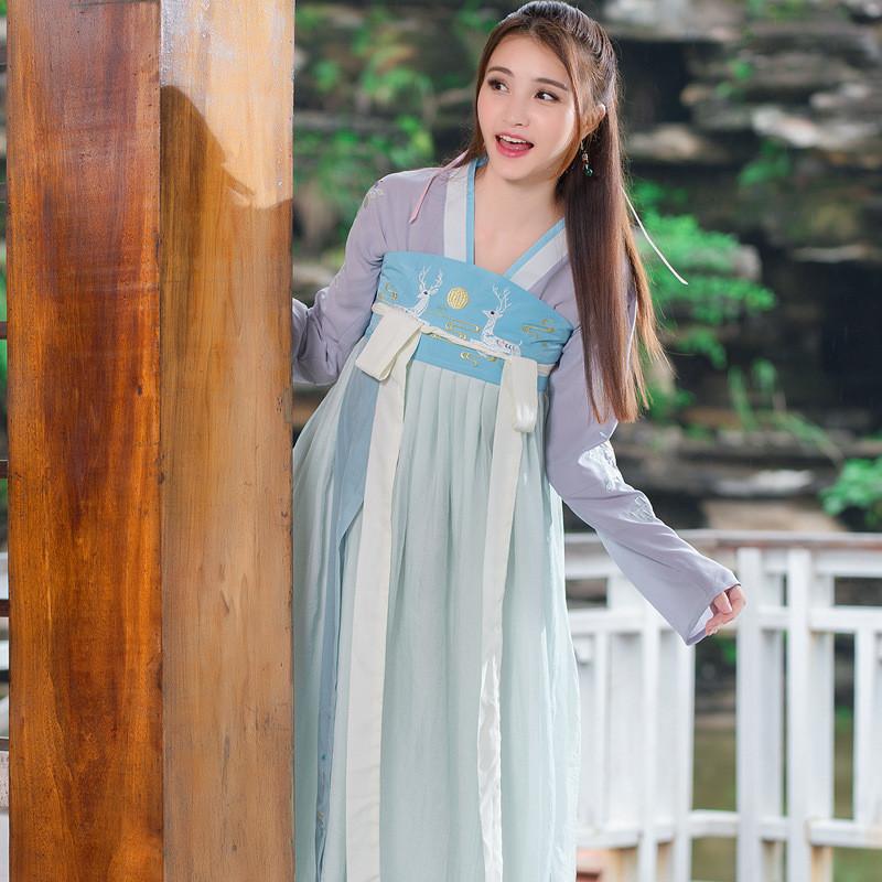 魅言魅语实拍 传统汉服女唐风古装 百搭日常可爱刺绣 仙女表演服饰 仅