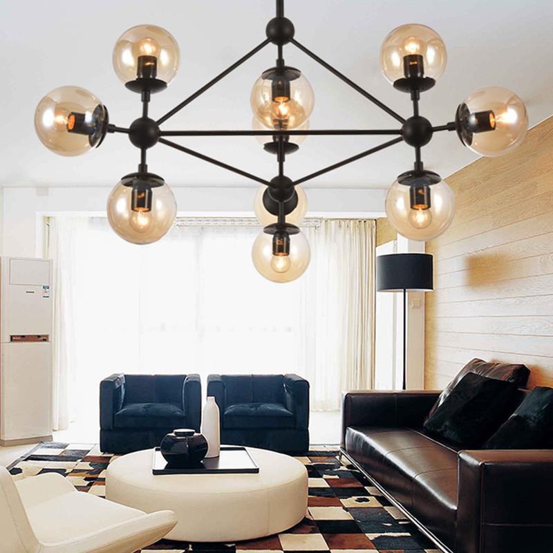 设计北欧多头个性创意客厅灯 服装店玻璃球魔豆枝形吊灯 15头高清实拍