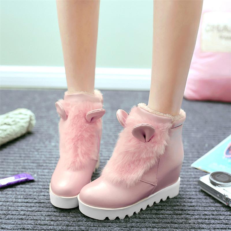 韩版甜美少女毛毛鞋百搭可爱公主兔兔耳朵内女鞋短靴白色棉靴