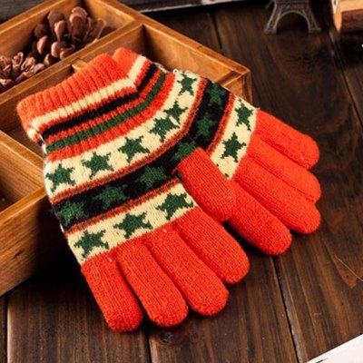 5-10儿童加绒加厚保暖分指手套韩版潮编织毛线手套童.