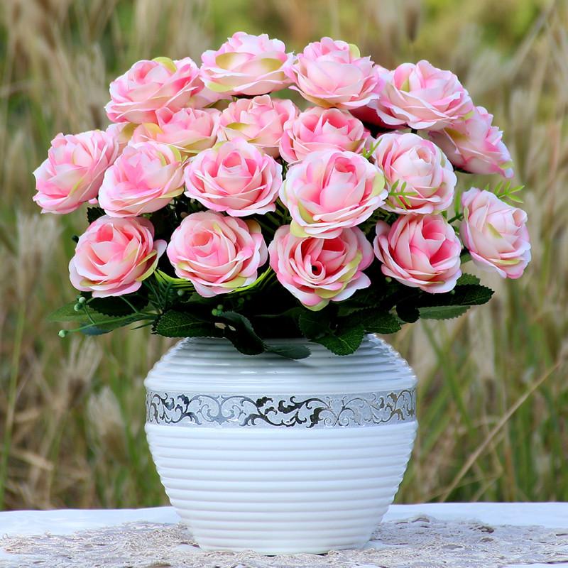 简约仿真花套装 欧式假花 玫瑰花 家居客厅餐桌摆件 装饰花瓶花艺-3牡