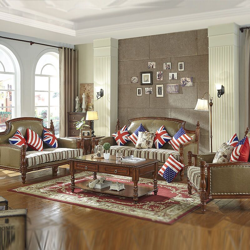 美式沙发 全实木大户型欧式皮沙发乡村皮布沙发组合客厅家具