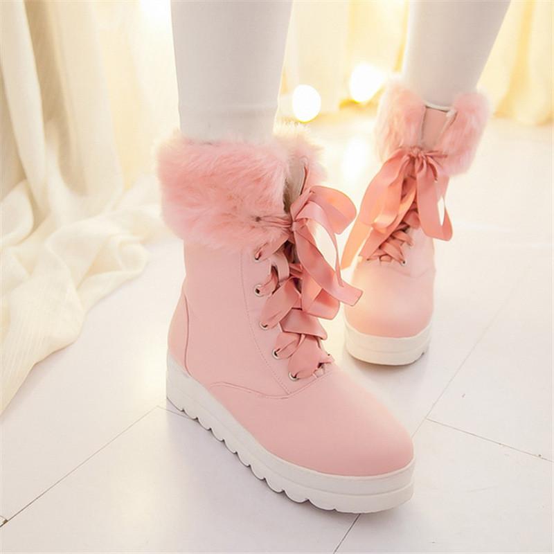 冬季韩版潮学生大棉鞋冬天雪地靴短靴可爱粉色初中生加绒毛女靴子