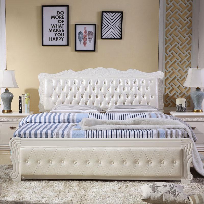 江南柳絮 欧式全实木床橡木简约现代白色床 纯实木床 软包 软靠 皮床