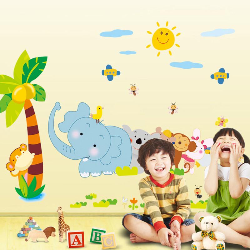 儿童宝宝房幼儿园装饰贴 装饰墙贴纸 可移除贴纸 小动物拔河墙贴-大号