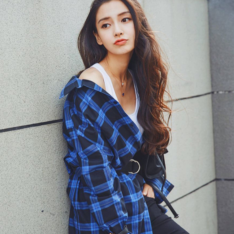 杨颖明星同款纯棉蓝色格子长袖衬衫女中长款休闲连衣裙(配皮带) l