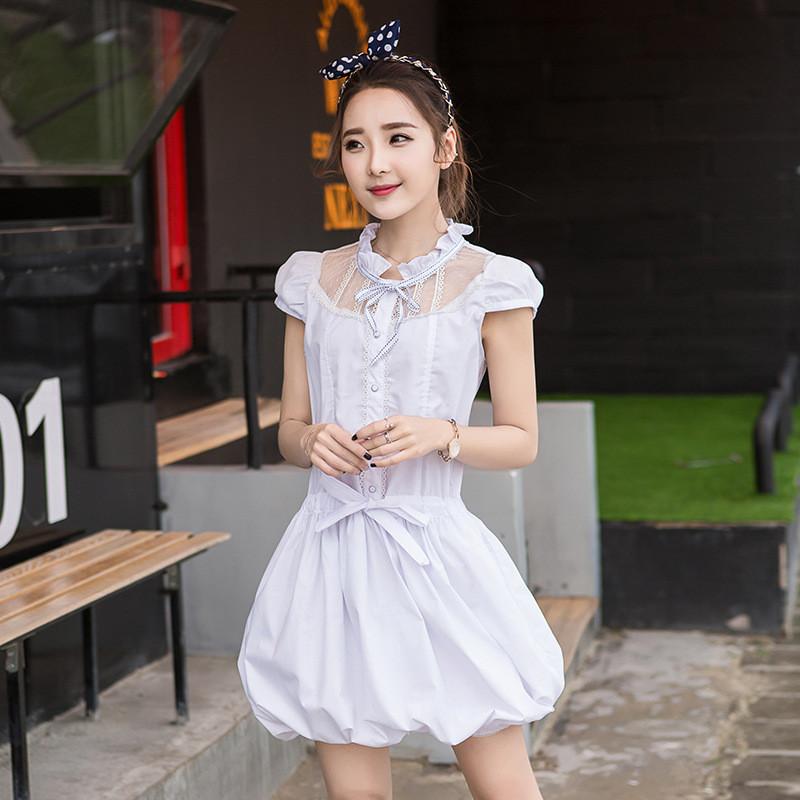 韩雪青青2017#甜美夏装新款韩版纯白可爱淑女公主裙初高中学生连衣裙图片