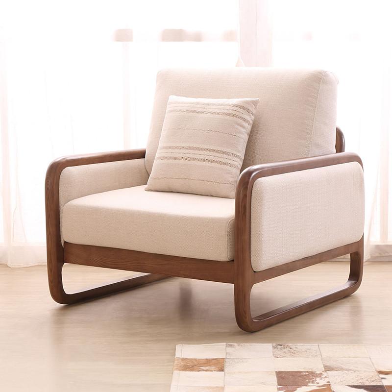 马氏皇庭实木沙发 北欧风格布艺组合沙发高档白蜡木客厅可拆洗 脚踏