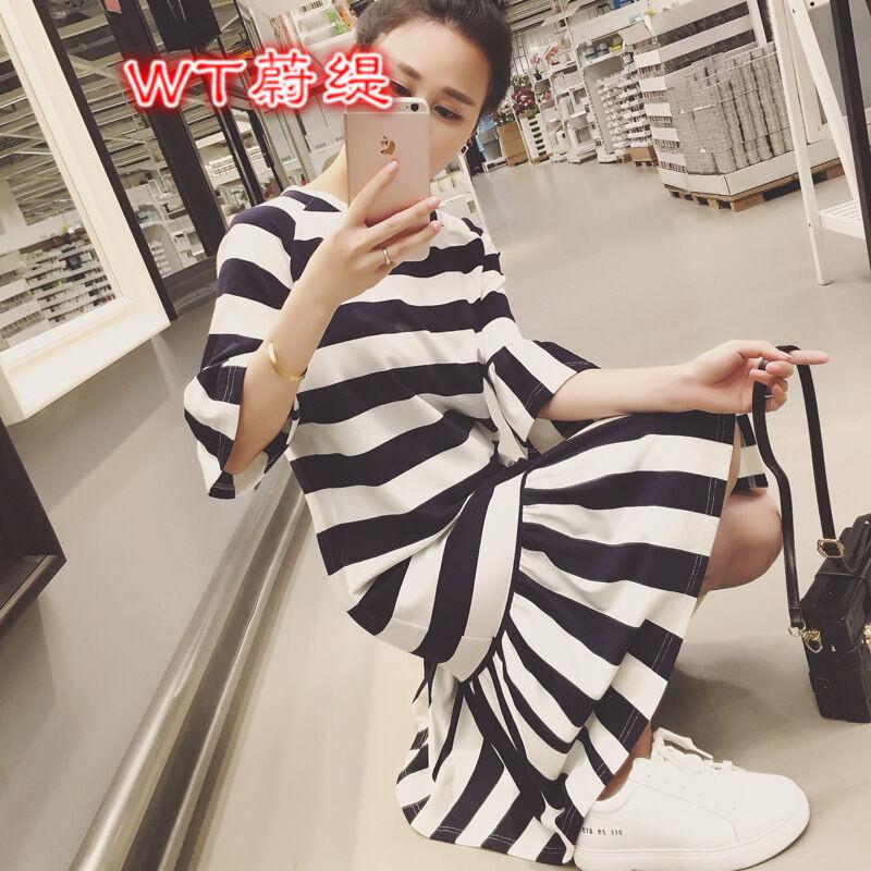 蔚缇2016夏季黑白条纹喇叭袖连衣裙韩版荷叶边t恤连体裙1488297655271
