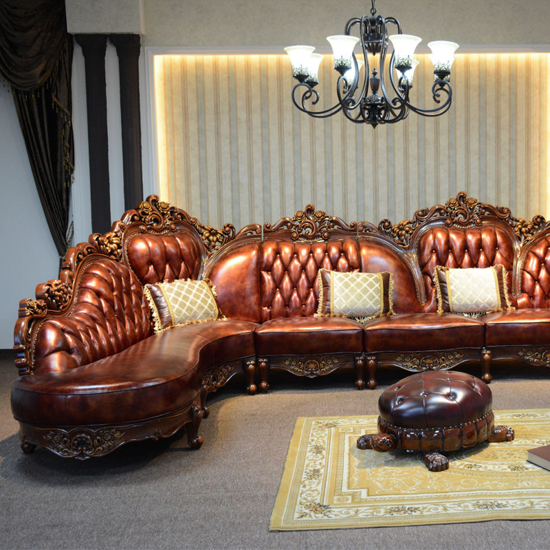 淮木 小户型皮沙发欧式皮沙发 l型 转角雕花沙发 美式客厅家具 转角