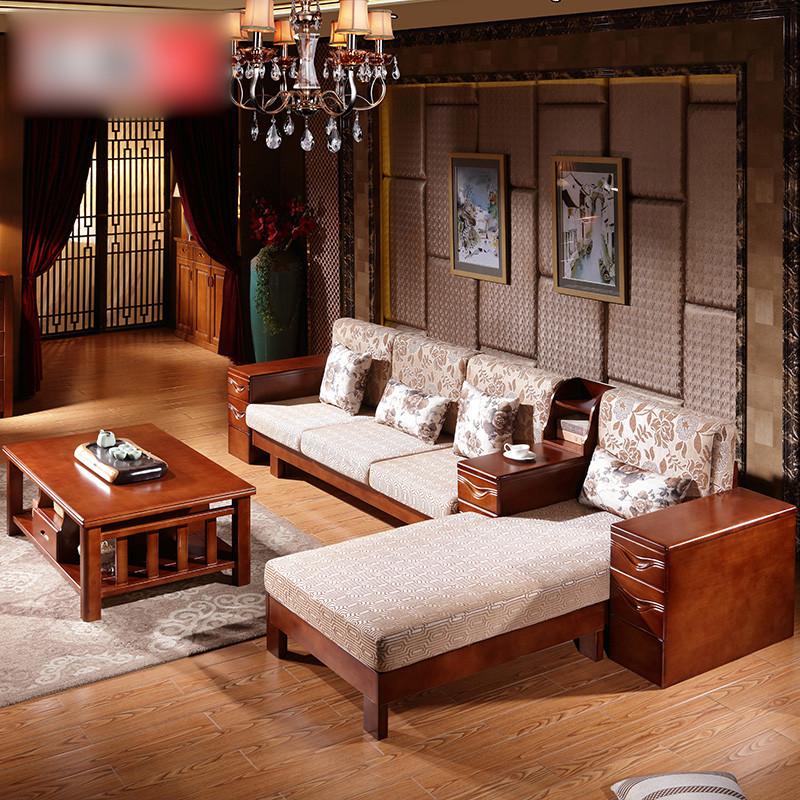 淮木(huaimu) 中式实木沙发组合家具小户型橡木伸缩推拉两用客厅贵妃