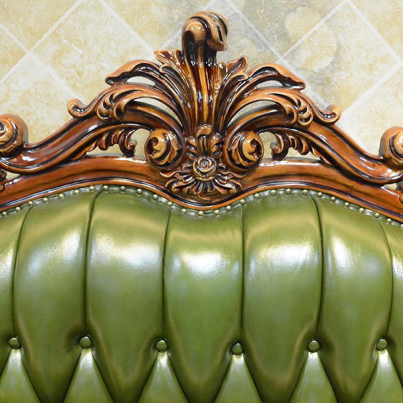 淮木 欧式皮沙发123组合 实木客厅雕花三人位绿色小户型沙发9252 13