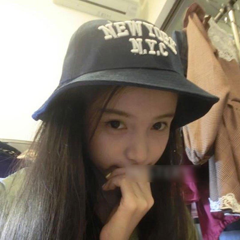 帽白色夏遮阳帽韩国潮韩版盆帽纯色新款少女可爱百搭潮款字母渔夫帽