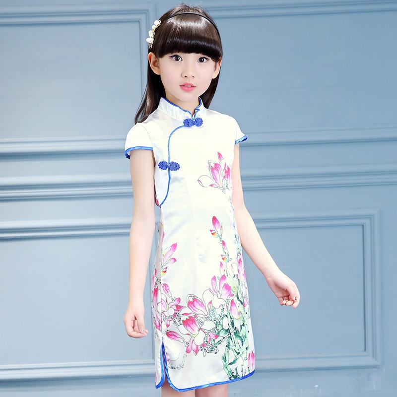 儿童旗袍夏季女童唐装中国民族风连衣裙小孩女孩公主中大童装