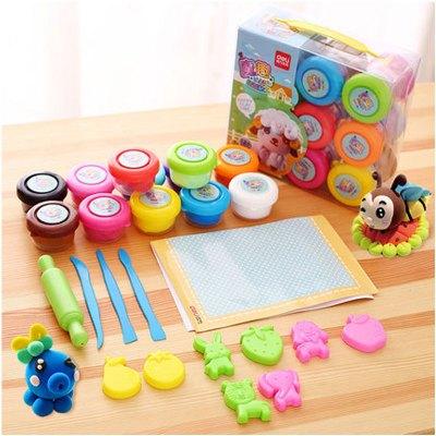 12色儿童宝宝橡皮泥 无毒彩泥带模具太空泥可爱卡通小动物彩泥简约小