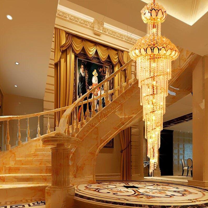 新奥泰佳楼梯水晶灯 别墅复式楼梯灯长吊灯 圆形客厅灯大吊灯灯具