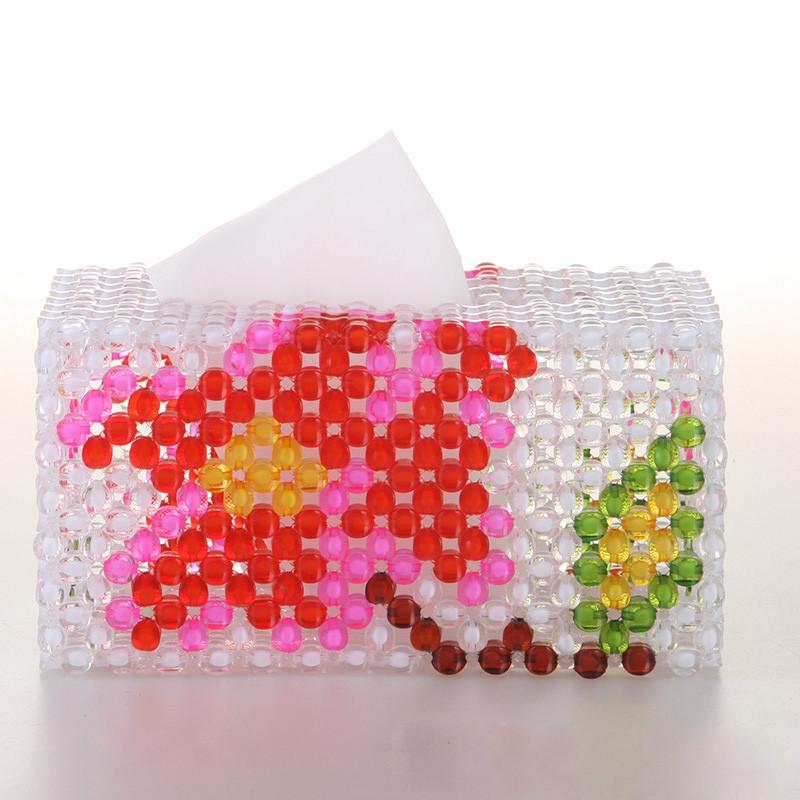 吟秀 创意工艺品 diy手工串珠纸巾盒 抽纸盒 收纳盒 礼品摆件 葡萄