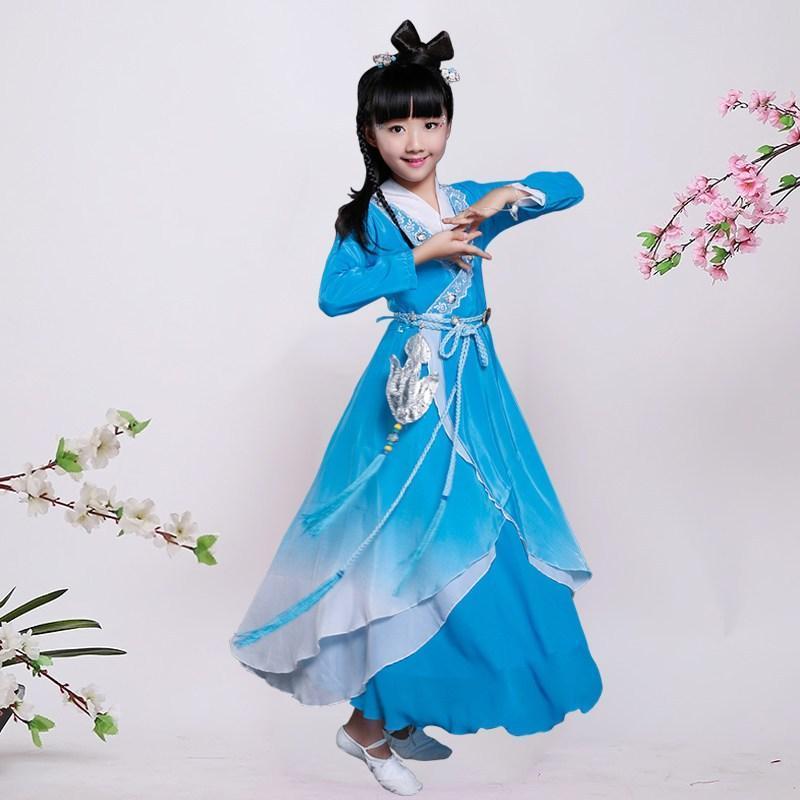 古装服装儿童仙女汉服女童公主贵妃唐装写真古筝碧瑶演出服1 140cm 绿