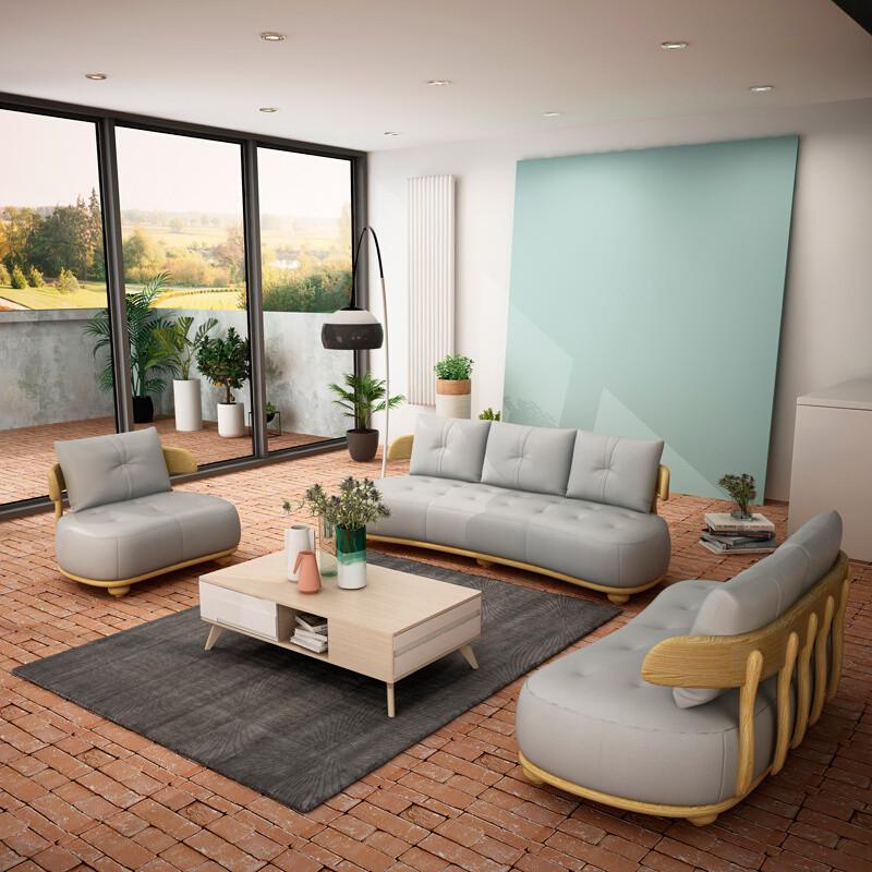 慕尼思丹沙发真皮沙发实木沙发客厅沙发小户型北欧沙发家装节4免1单人