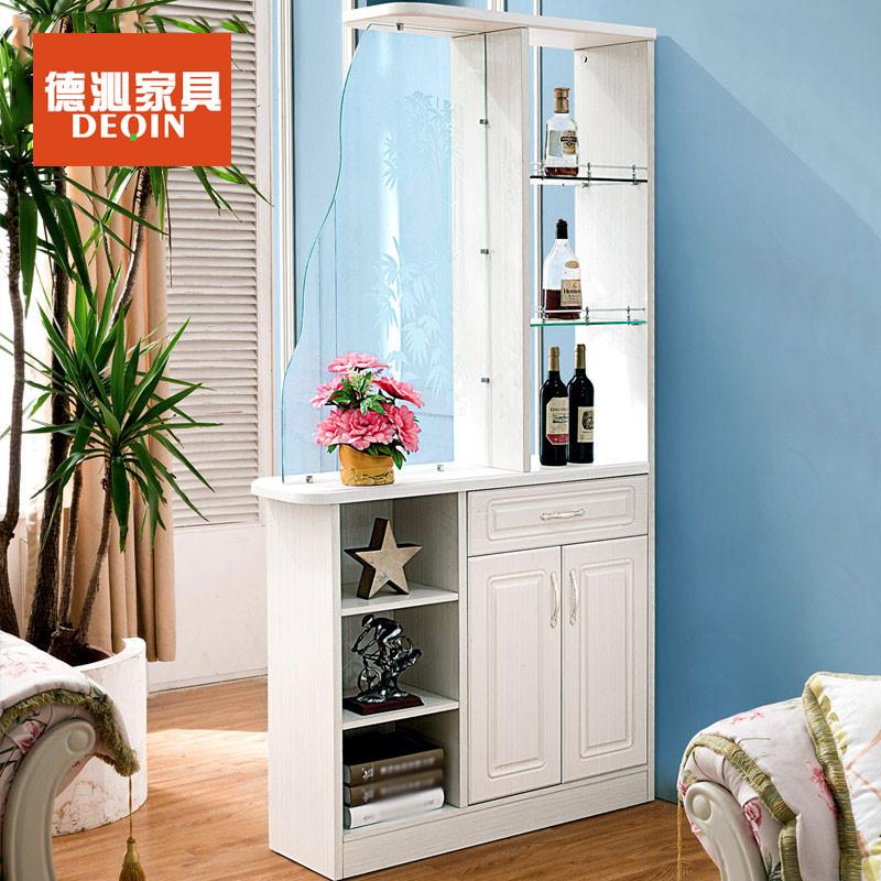 德沁 欧式客厅玄关门厅柜法式板木雕花玻璃门酒柜间厅鞋柜 1080*300*