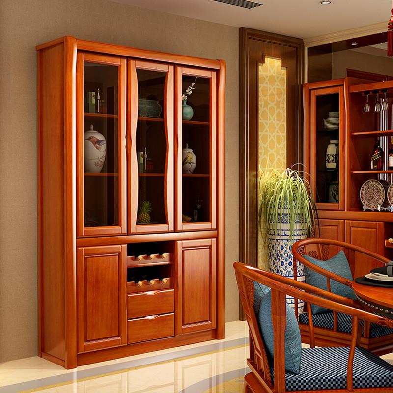 青木川 现代客厅中式红酒柜实木 三门餐边柜家用 玻璃门装饰柜 碗柜碟